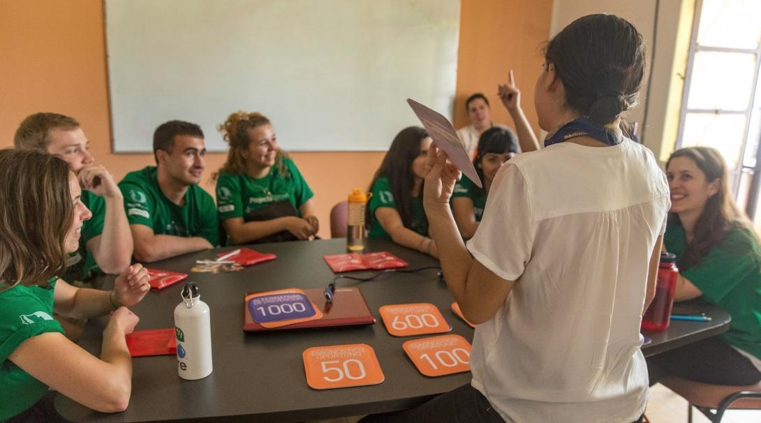 A local doctor teaches Projects Abroad Nursing and Medicine interns through a matching game at their hospital placement in Guadalajara, Mexico.